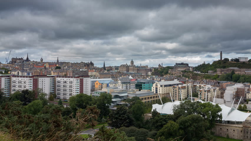 Edinburgh Cityscape hyper lapse in Scotland