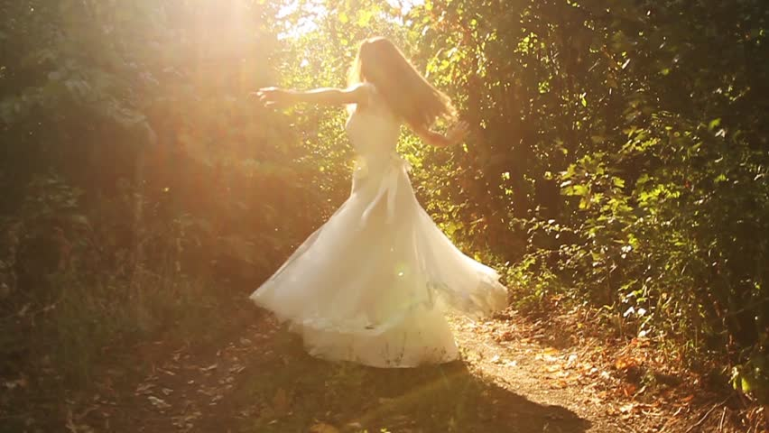 Beautiful Female Spinning Bride Dress Slow Motion Forest Nature