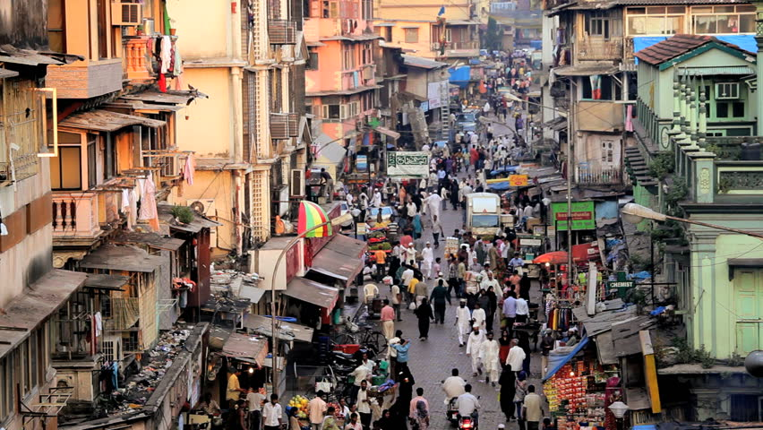 India - January 2011: Crowds in local Crawford Market shopping for food and produce in Mumbai, Uttar Pradesh, India in January, 2011