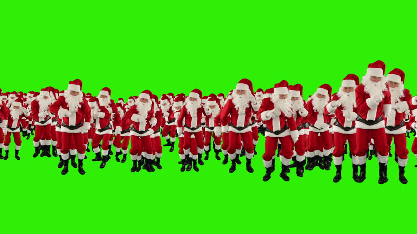 Santa Claus Crowd Dancing, Christmas Party Merry Christmas Shape, Green Screen - HD stock footage clip