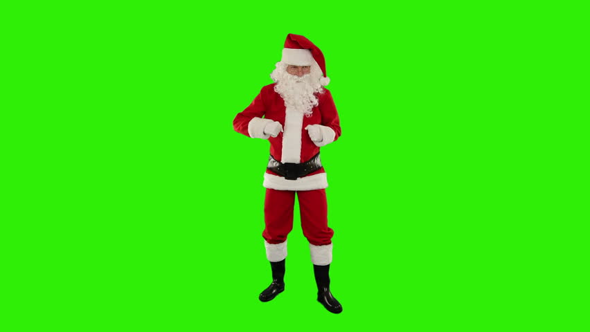 Santa Claus Dancing isolated, Dance 5, Green Screen - HD stock video clip