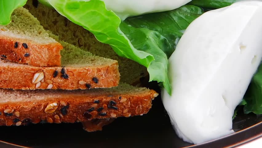 soft mozzarella served with bread on dark plate 1920x1080 intro motion slow hidef hd