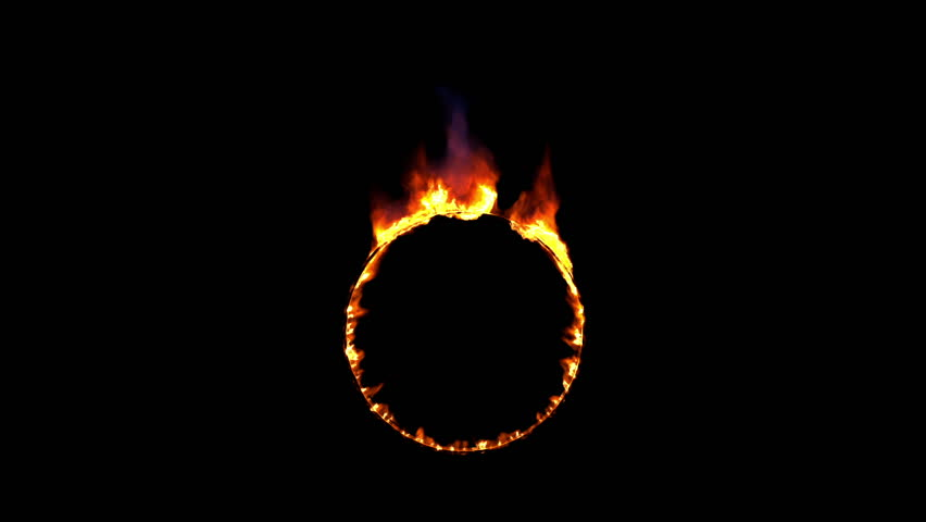 burning circle, ring of fire and flames, seamless loop with alpha