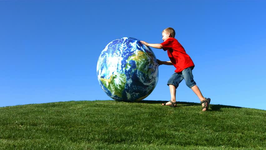 Boy rolling Earth
