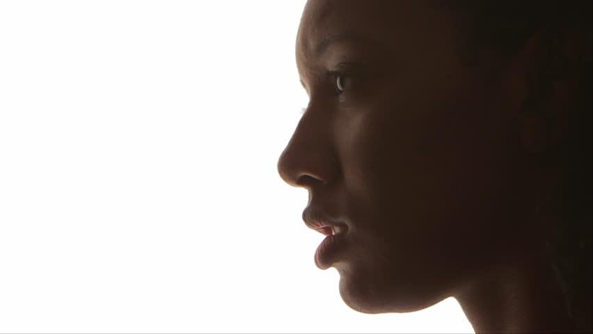 Profile of black woman - HD stock video clip
