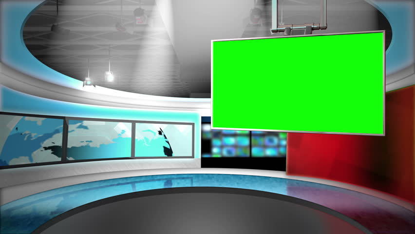 This background is designed to be used as a virtual background in a green screen or chroma key video production.  The studio can be used as a news set or broadcasting studio layer in a video editor.