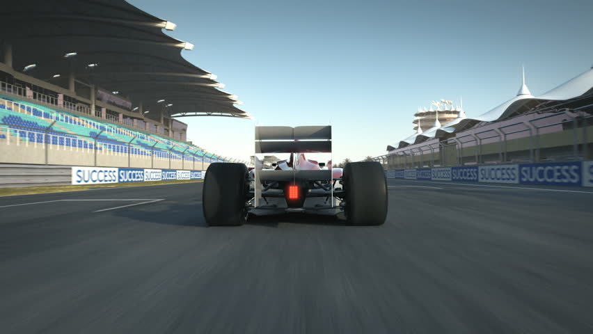 Formula One race car breaking and stopping at start position - high quality 3d animation - visit our portfolio for more