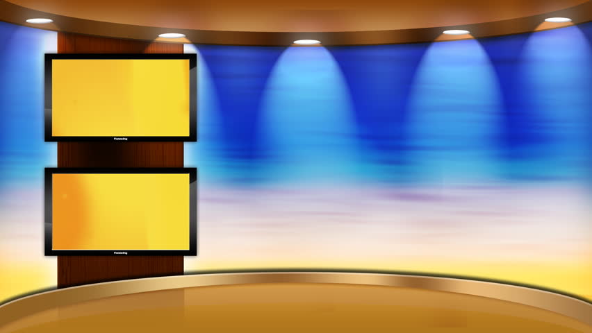 Virtual studio set/stage with 2 flat panel HD tvs/televisions in the background. main monitor animates into the foreground with a green screen for easy insertion of your footage.