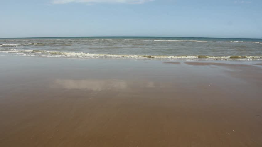 Omaha Beach, is place of landing  of allied forces during the Normandy D-Day invasion - June 6, 1944. - HD stock footage clip