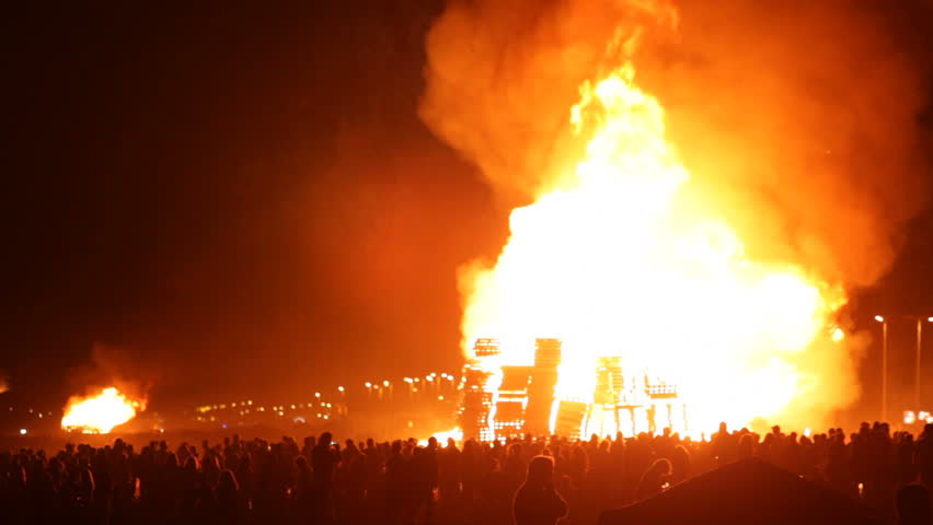 The Bonfires of Saint John in La Linea de la Concepcion, Andalusia, Spain. The traditional midsummer Spanish celebration in honor of San Juan.