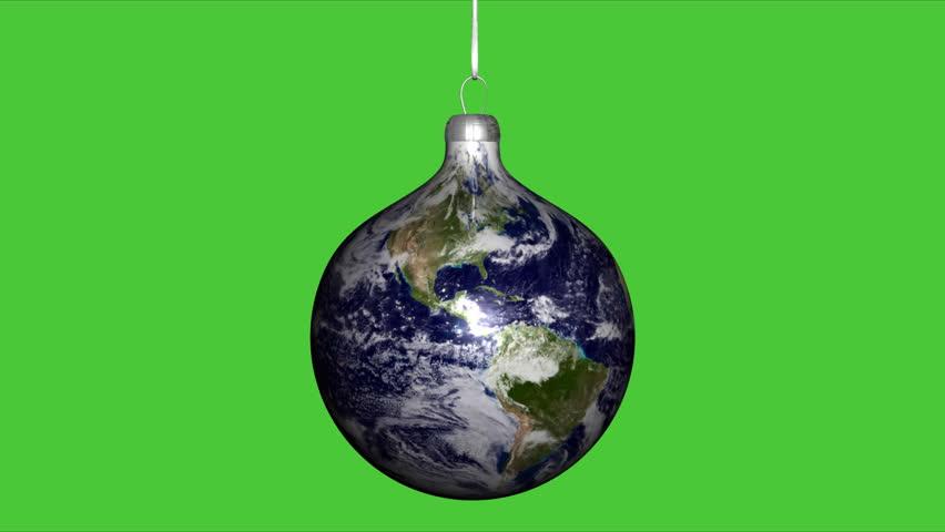 Earth Globe Christmas Ball on green chroma key background - HD stock footage clip