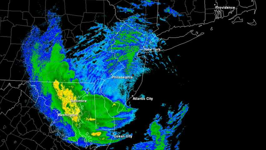 Hurricane Sandy (2012) Doppler Radar Landfall Time Lapse / loop. 189 frames created using data provided by NOAA. County / State borders and labels for major affected cities are visible
