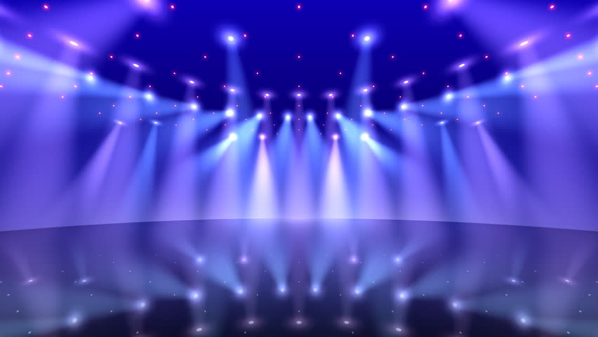 Empty Stage At Concert With White And Blue Spotlights