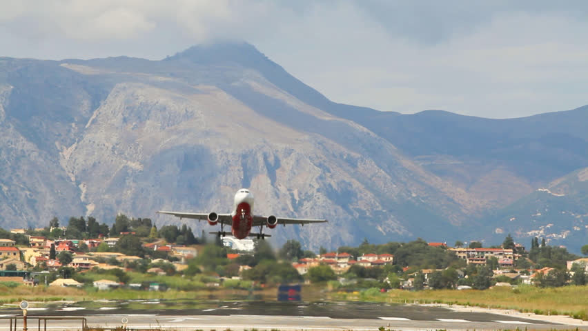 Plane take-off. Kerkira, Corfu, Greece
