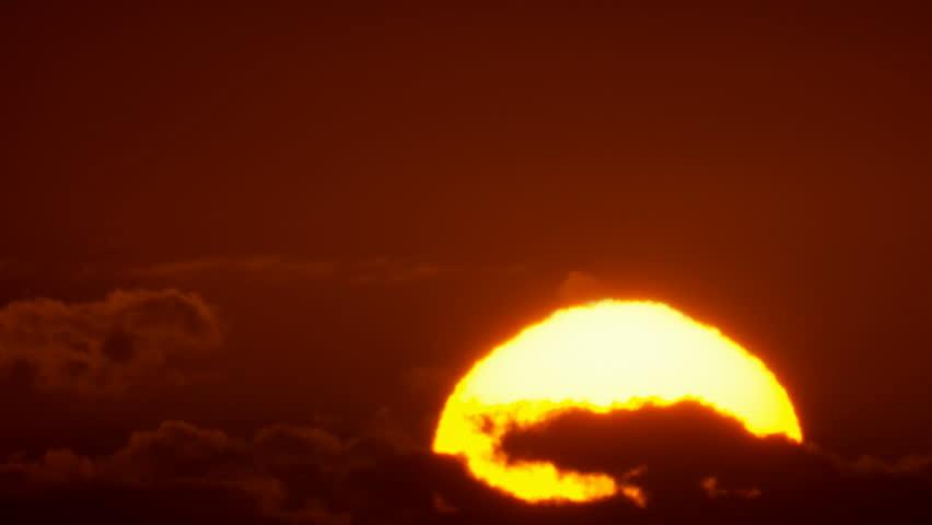 Big Sunrise Close-up, Sun Rising at Dawn Time Lapse