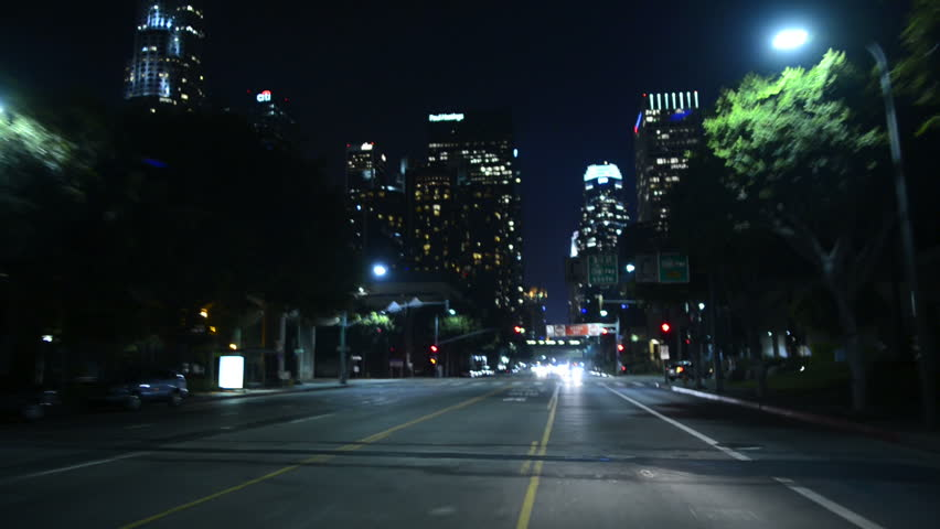 Driving POV LA Downtown 09 Night USA