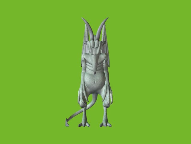 Stone Gargoyle animation on green screen. Easy editing.