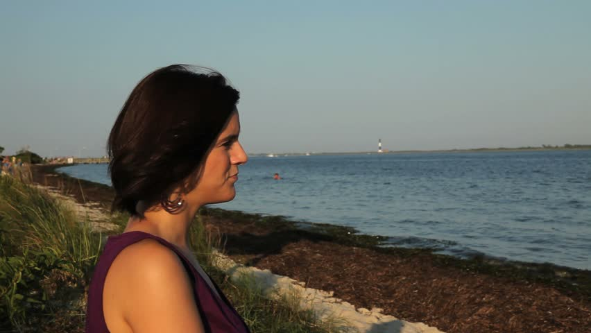 Young Woman Looking at Ocean - Close-up - HD stock footage clip