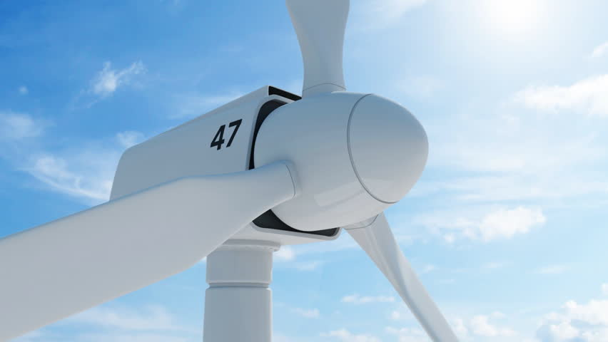 Close-up Animation of Modern Wind Turbine on beautiful clouds background with sun. Seamless looping HD Video Clip - HD stock footage clip