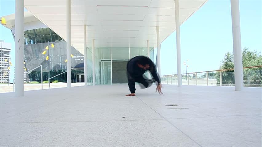 Break Dance and Hip Hop. Break dance boy make complex element.