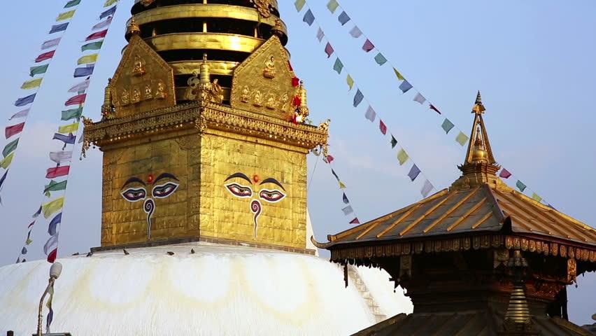 KATHMANDU, NEPAL - JUNE 2013: Symbol of Nepal, Buddha's Eyes in Kathmandu. - HD stock video clip