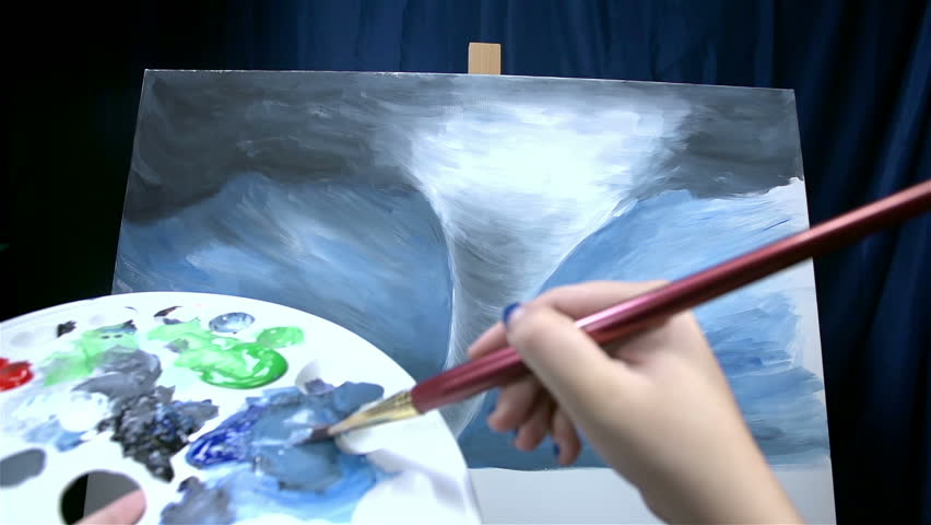 Personal artist view while picking up color and drawing on canvas - HD stock footage clip