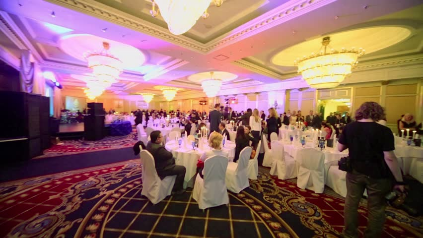 MOSCOW - MAY 29: Guests of annual national award ceremony Financial Olympus celebrate in banquet hall of Hotel Ritz-Carlton on 29 May 2012, Moscow, Russia.
