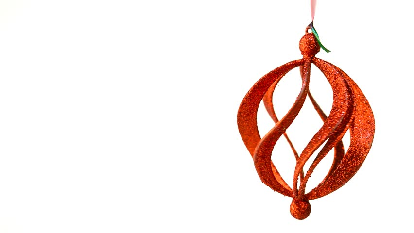 Red Spiral Christmas Ornament Twirl and Rotate Isolated