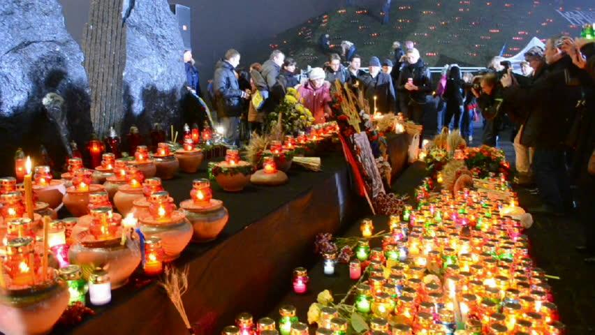 KIEV, UKRAINE - NOV 23: 80th anniversary of Holodomor marks in Kiev, Ukraine on November 23, 2013. Holodomor - Josef Stalin-ordered famine that killed millions of Ukrainians in 1932-33.