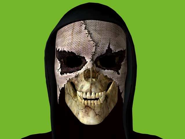 Scary Grim Reaper wearing a horrible mask and black hood. Click his teeth together. Goth Animation on green screen