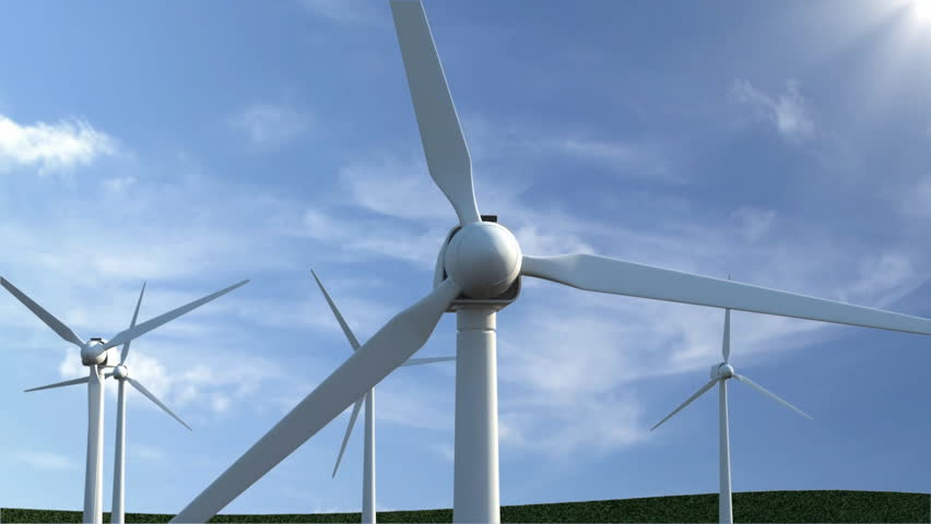Animation of Modern Wind Turbines on beautiful clouds background with sun - HD stock footage clip