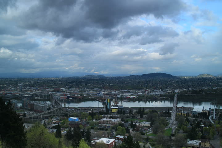 Portland, Oregon - April, 2013 - View from aerial tram on a cloudy day.