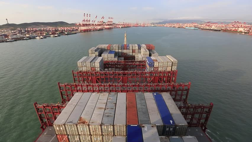 China Qingdao port container terminal pov