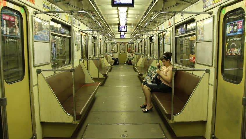 UKRAINE, KIEV, MARCH 7, 2011: Woman inside a transit vehicle in Kiev, Ukraine, March 7, 2011 - HD stock footage clip
