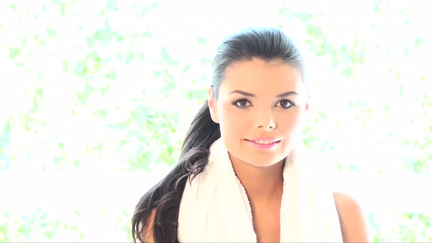 Portrait of beautiful and relaxed lady after fitness  - HD stock footage clip