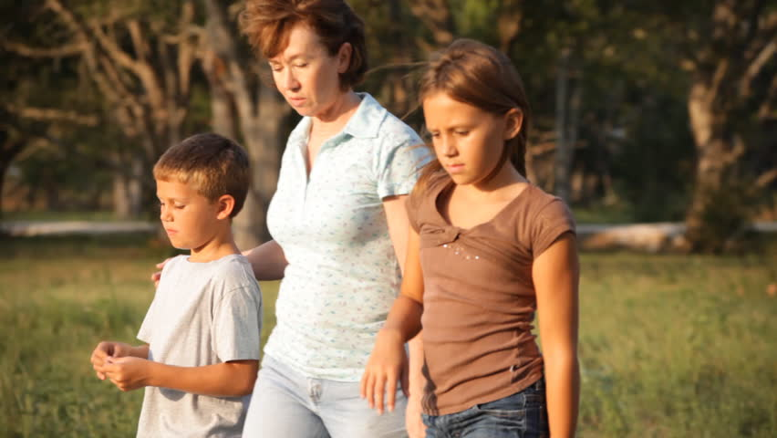 A woman and her two grandchildren stroll through a meadow in the late afternoon sunlight. - HD stock video clip