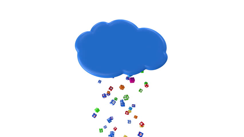 Animation of Rain from Application Icons. Cloud Computing Concept. HQ Video Clip with Alpha Channel