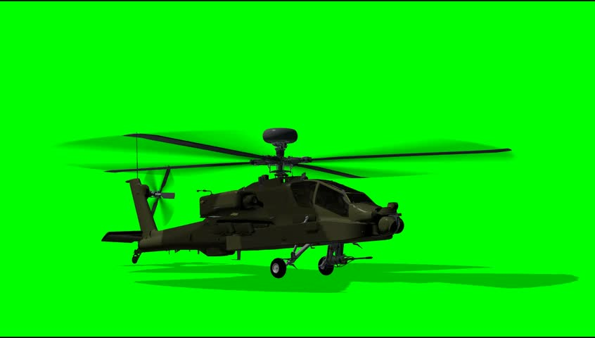 Boeing AH-64 Apache Helicopter after Landing green screen Video Footage