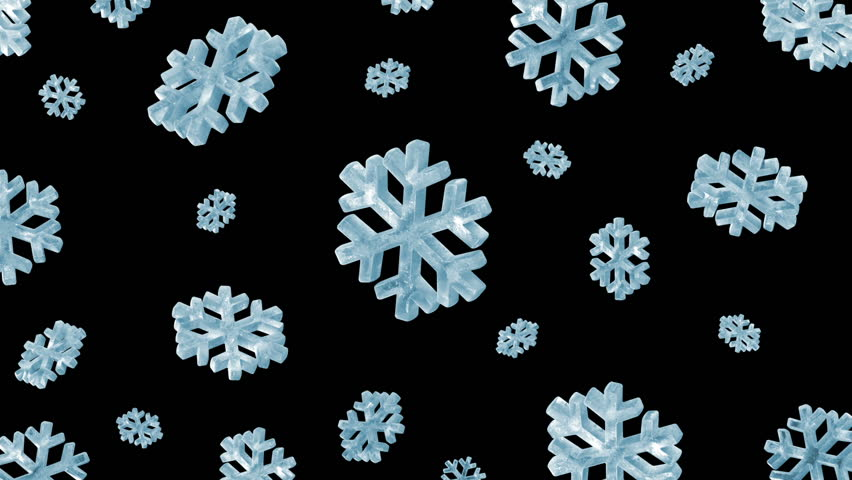 Icy Snowflakes Falling. HQ Seamless Looping Animation with Alpha Channel