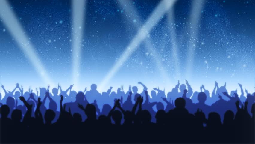 Cheering Crowd Under Stars
