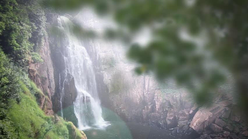 Waterfall zoom effect of Haew Na Lok waterfall, Khao Yai national park, thailand - HD stock footage clip