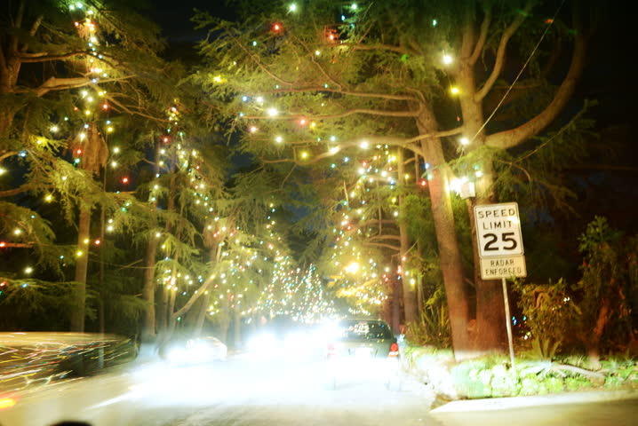 4K POV Drive Lapse of Holiday Illumination at Christmas Lane in Altadena, CA