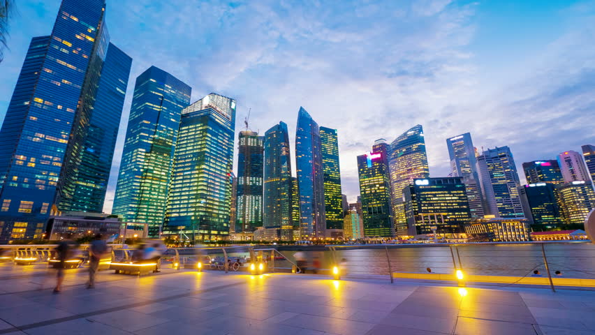 4k (4096x2304) timelapse, Singapore, Sunset at Marina bay quay - 4K stock footage clip