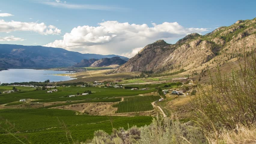 Time lapse motion dolly shot of cloudy day at the Osoyoos, BC, Canada