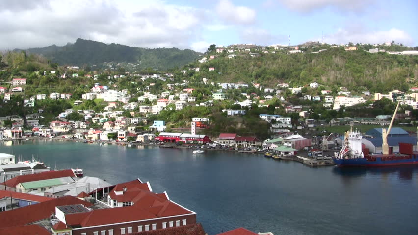 Harbor in Grenada with ships - HD stock footage clip