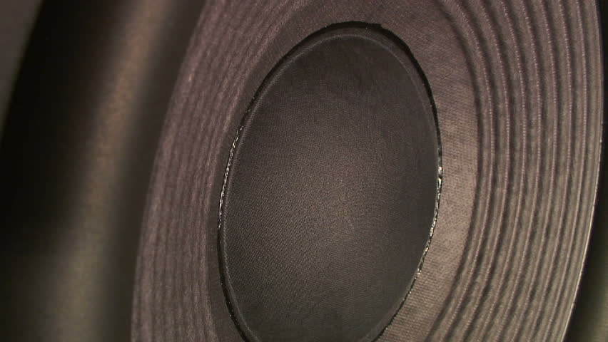 Subwoofer speaker extreme side angle closeup. HD 1080 - HD stock video clip