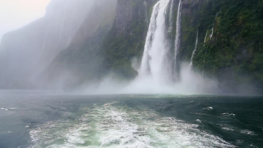 Milford Sound Fjord Waterfall in South Island, New Zealand