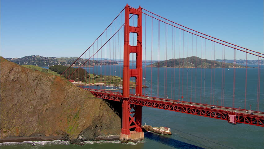 Golden Gate Bridge. Aerial shot of the Golden Gate Bridge in San Francisco on a clear, sunny day.