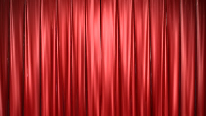 High definition clip of an opening red stage curtain.