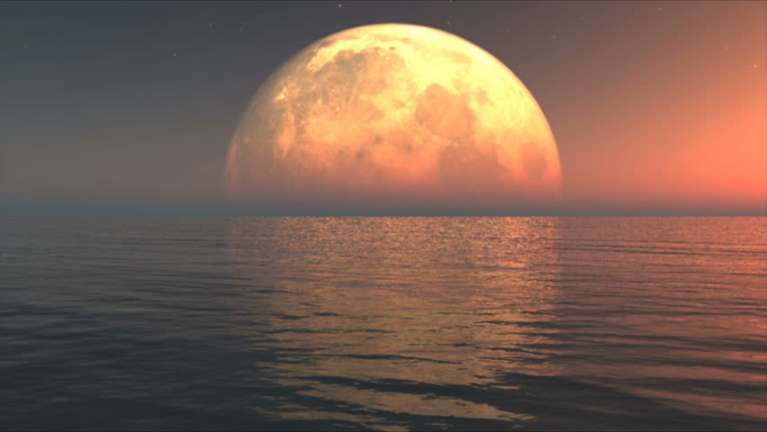 Ocean waves with big moon - HD stock footage clip